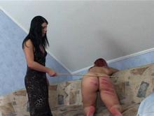 Receiving the caning she deserves