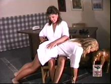 Mandy is the first to spank Kristen on punishment day
